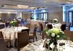 Wedding ceremony set up in the ballroom