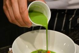 Pouring split pea soup