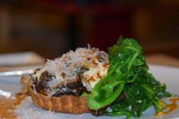 Mushroom tart and rapini