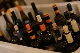 Wine bottles in an ice bucket