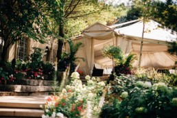 Wedding ceremony tent outside