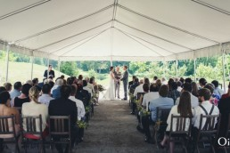 Wedding ceremony set up in the tent