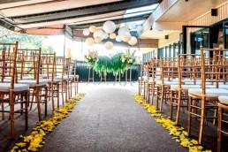 Wedding ceremony set up on the patio