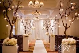 Wedding ceremony set up inside
