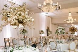 Wedding reception set up in the ballroom