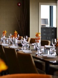 Restaurant table set for dinner
