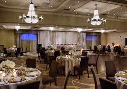 Ballroom set up for a wedding
