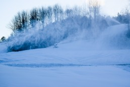snow guns blowing snow